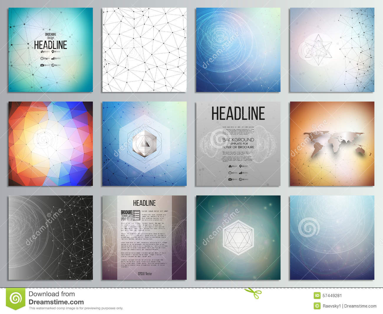 Set Of 12 Creative Cards Square Brochure Template