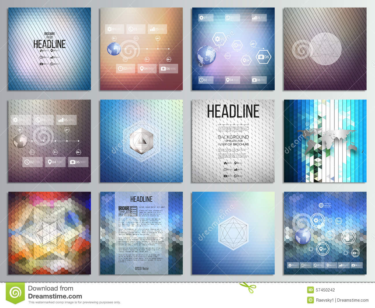 Set Of 12 Creative Cards, Square Brochure Template Stock Vector ...