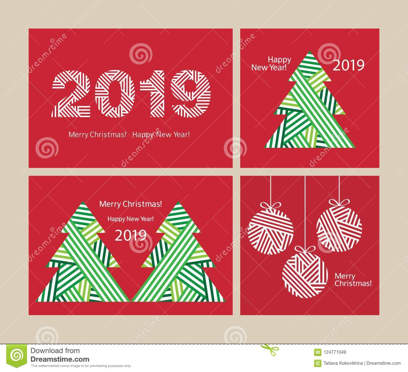 set of creative 4 christmas cards happy new year 2019