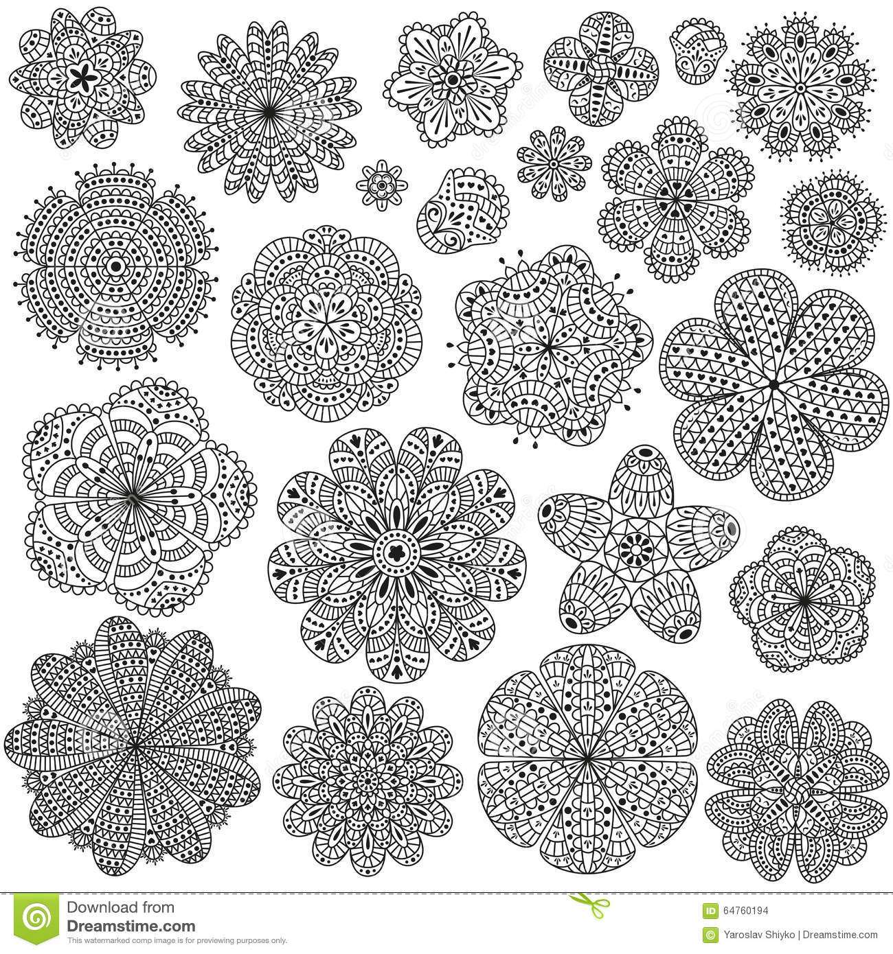 Creative Colouring Patterns Of Nature : Set of creative flowers for your design romantic floral