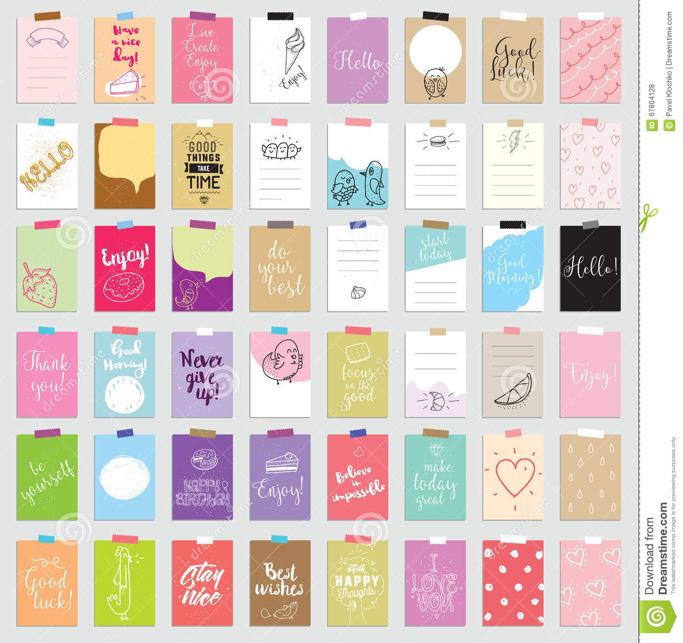 Set of 48 creative journaling cards. Vector illustration. Template for greeting scrapbooking, planner, congratulations
