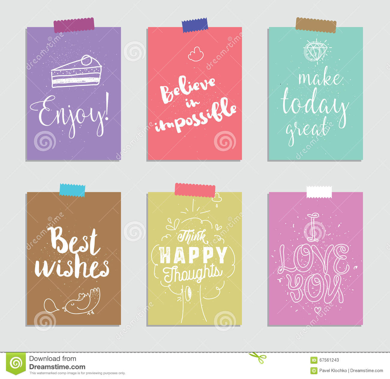 Set of creative 6 journaling cards. Vector illustration. Template for greeting scrapbooking, planner, congratulations
