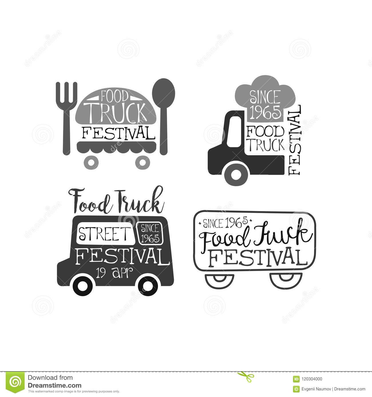 set of monochrome emblems for food truck festival original logos