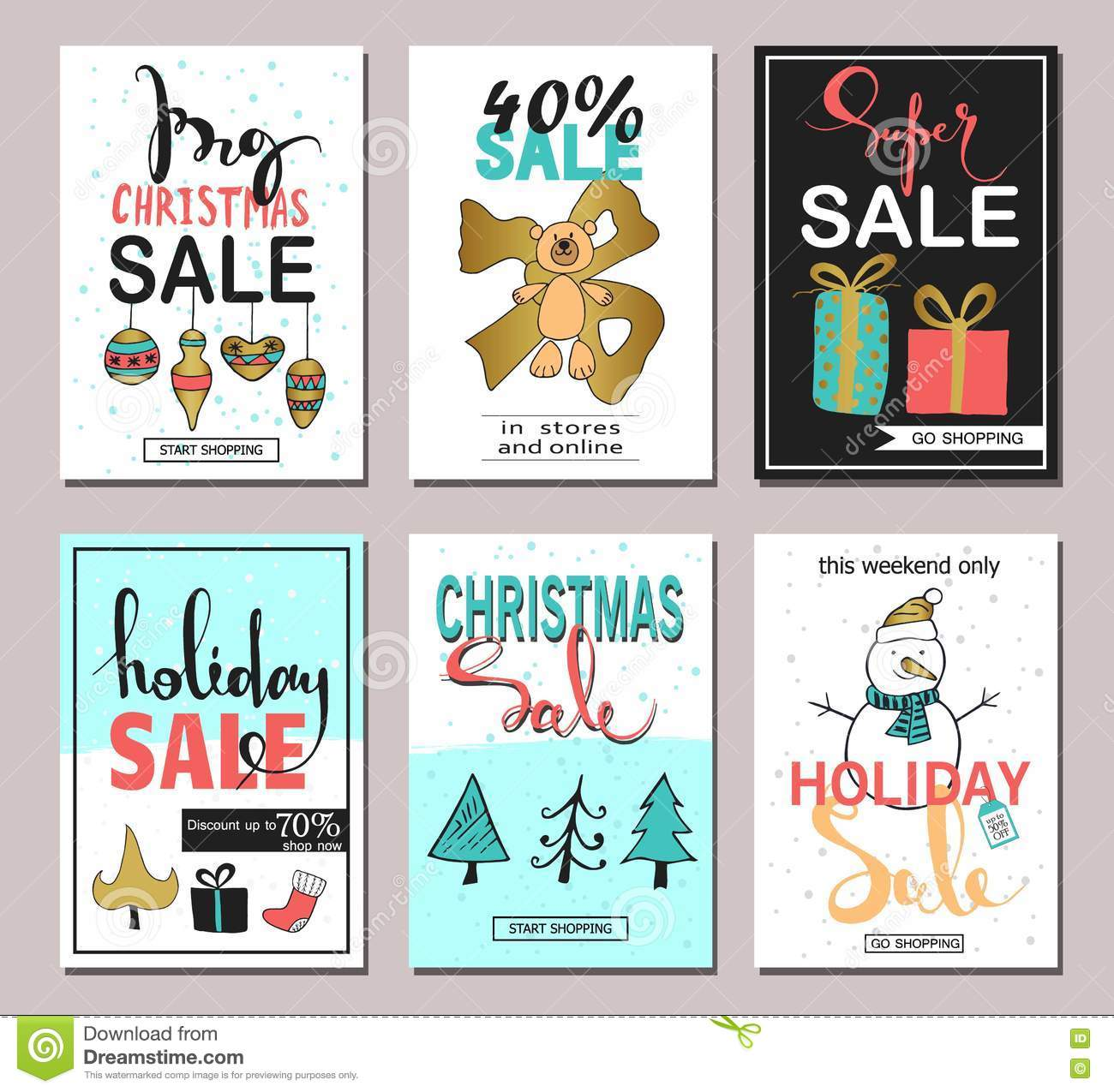 Set Of Creative Sale Holiday Website Banner Templates Christmas And