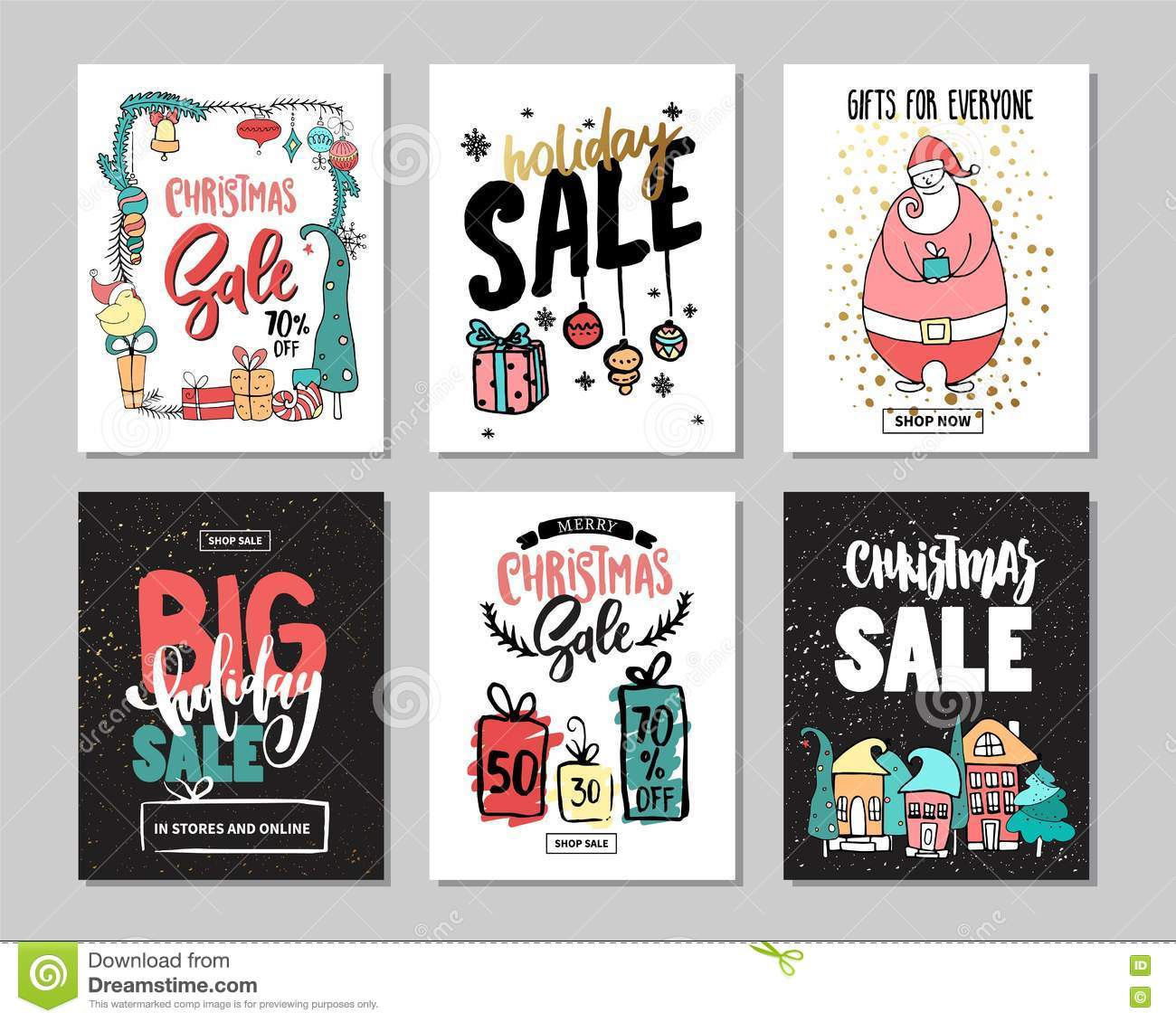 Set Of Creative Sale Holiday Website Banner Templates. Christmas And ...