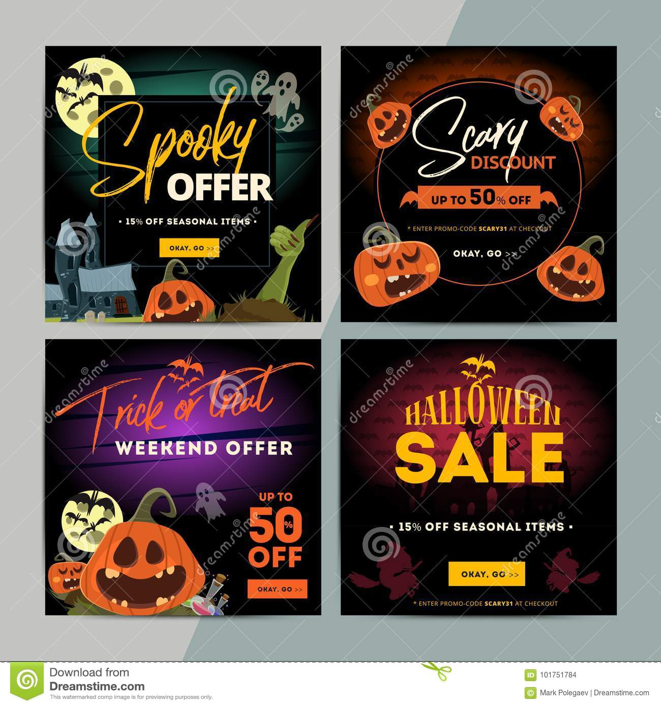 set of creative social media sale web banners design for online