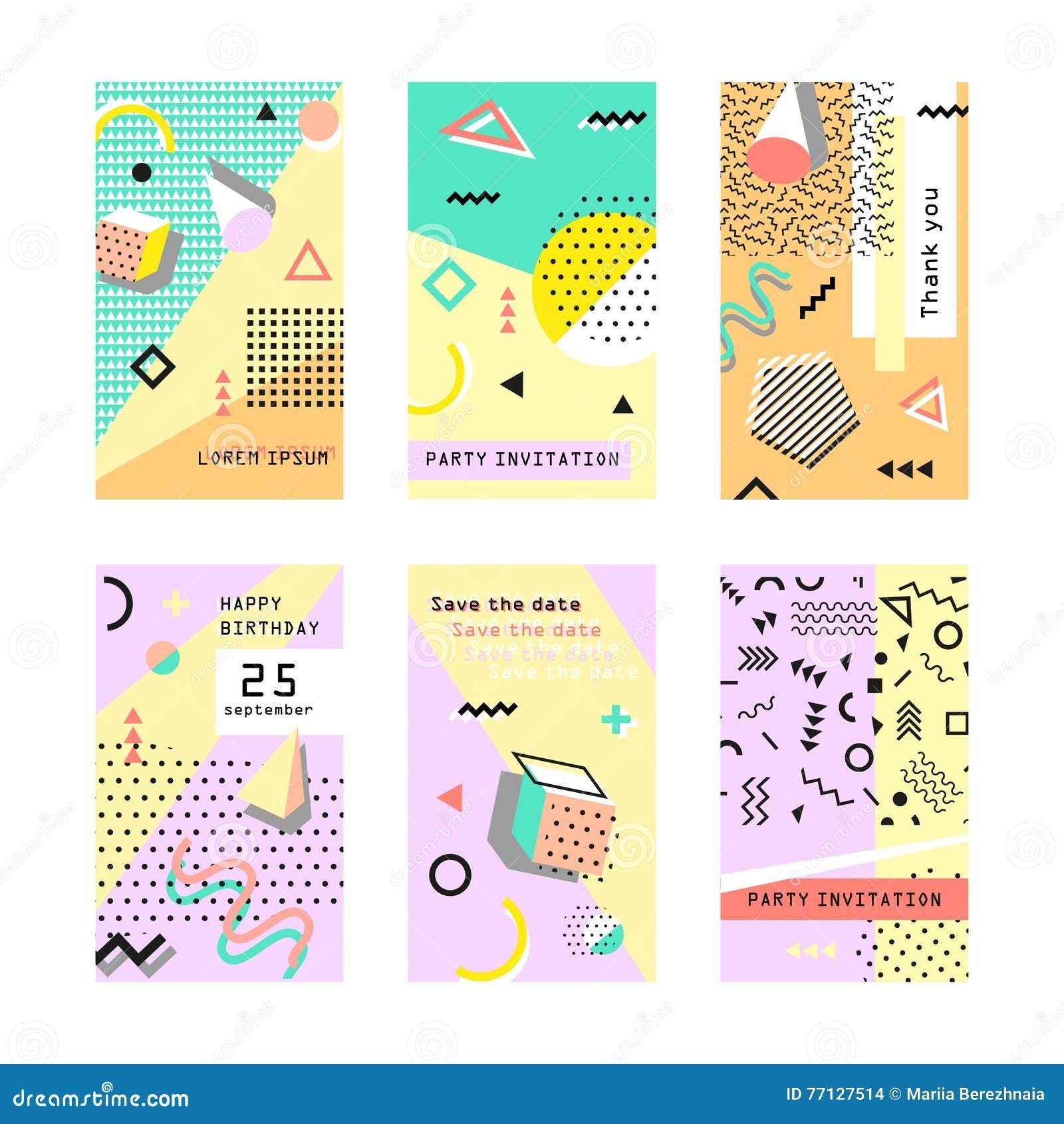 Set Creative Universal Cards Memphis Trendy Geometric
