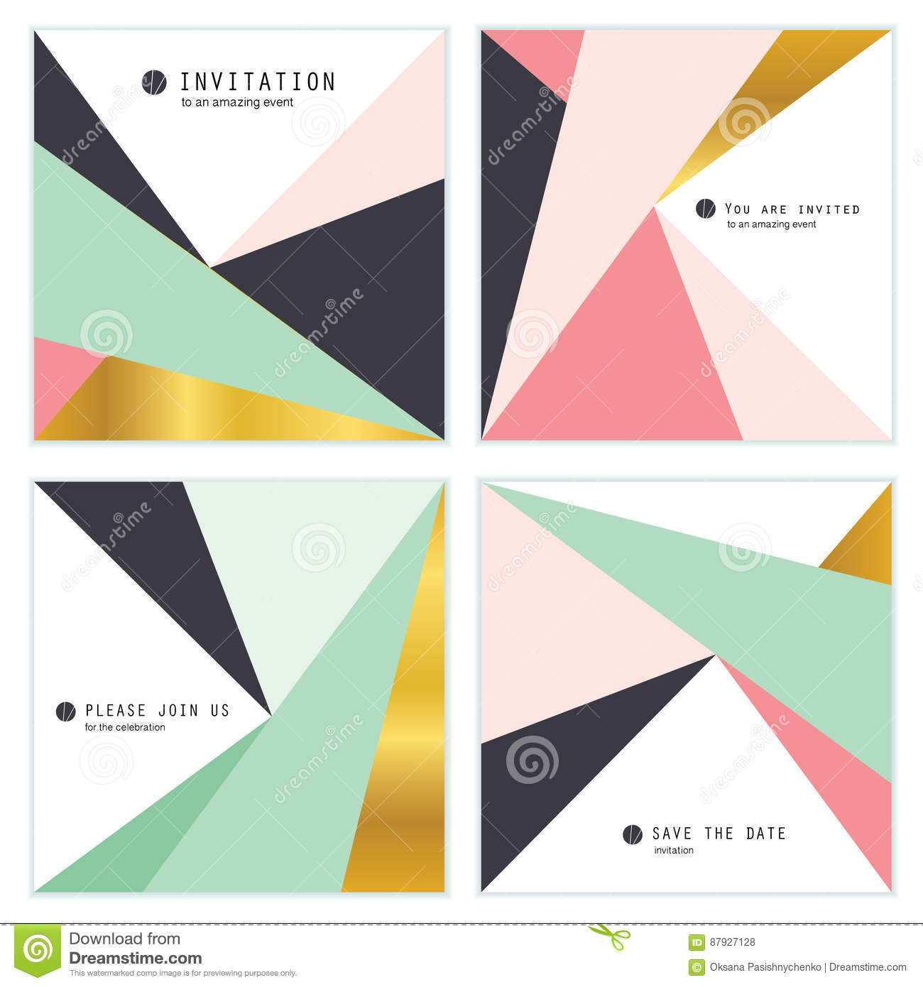 Set Of 4 Creative Universal Invitation Cards Geometric Triangles
