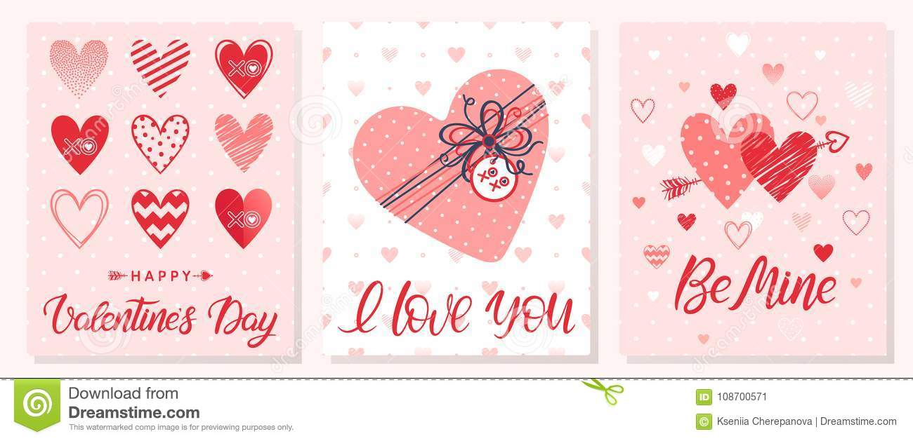 Set Of Creative Valentines Day Cards Stock Illustration
