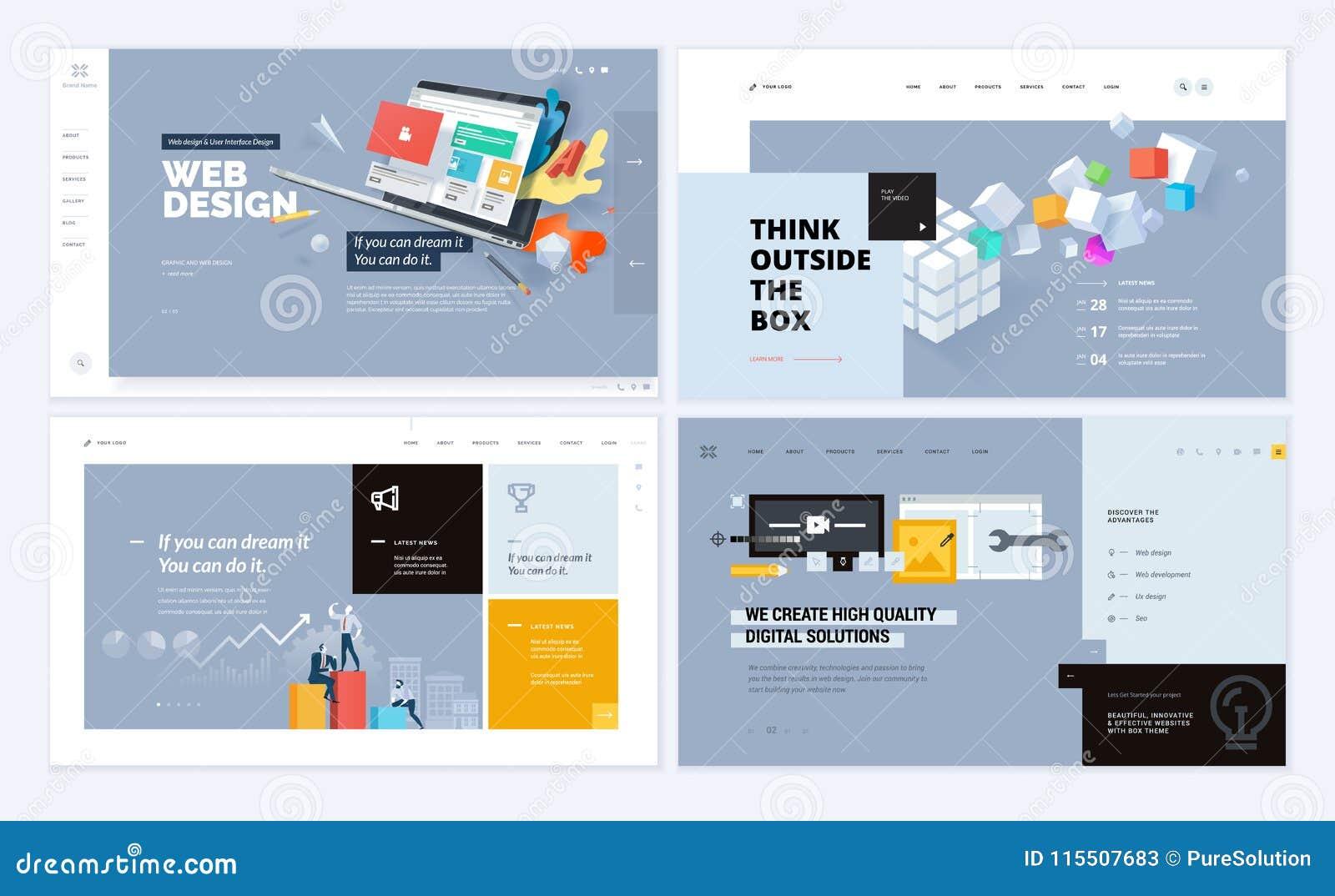 Set Of Creative Website Template Designs Stock Vector Illustration
