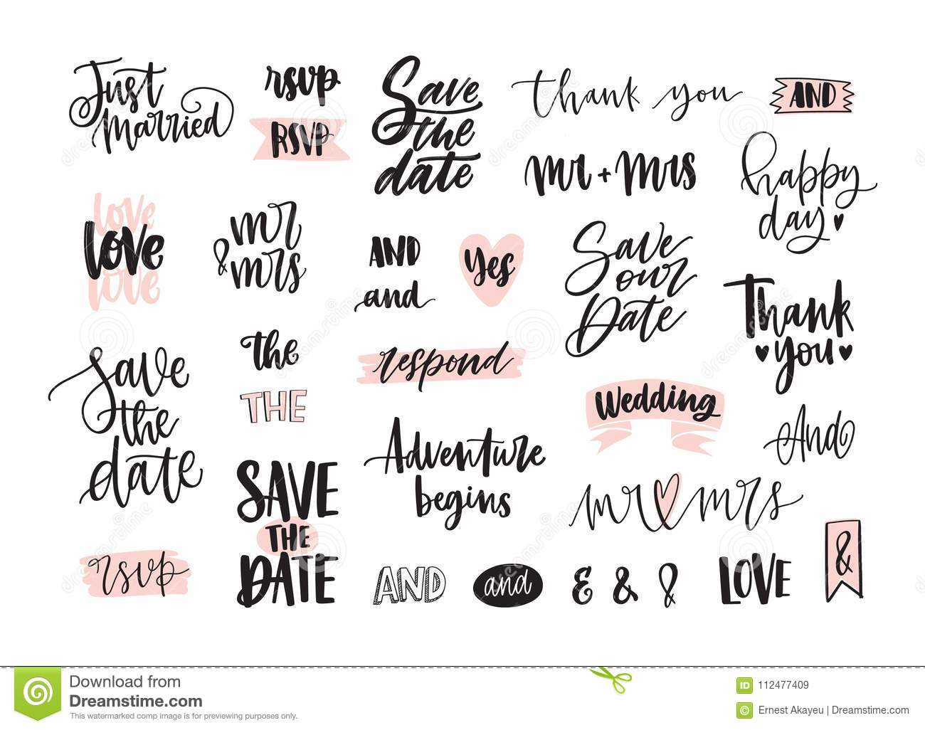 Download Set Of Creative Wedding Lettering Or Inscriptions Written With Decorative Calligraphic Font Bundle
