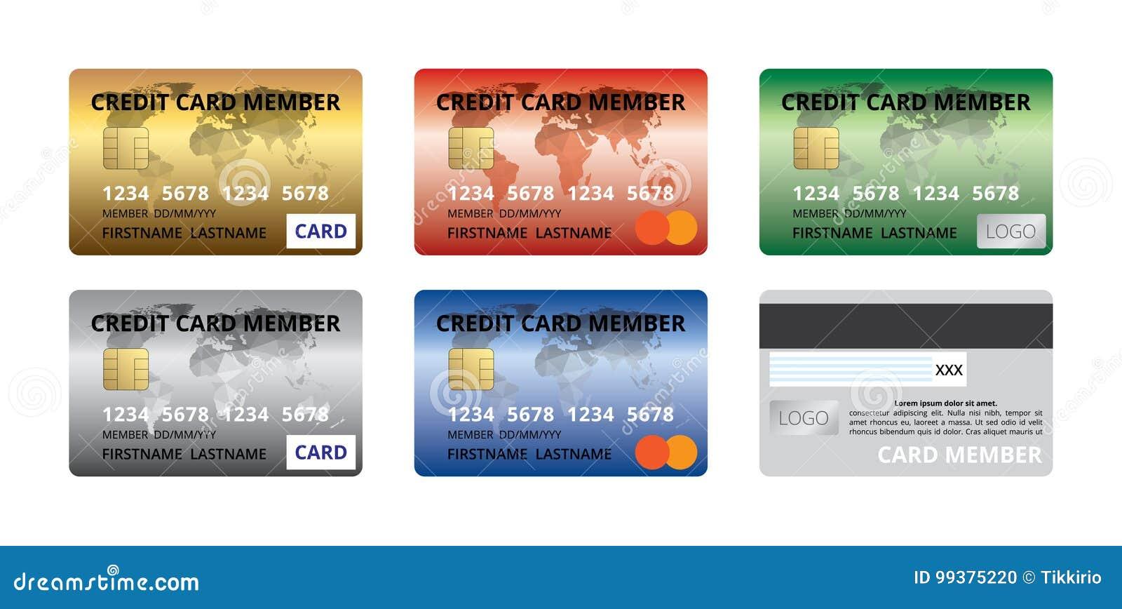 set of credit card member front back design template gold silver red