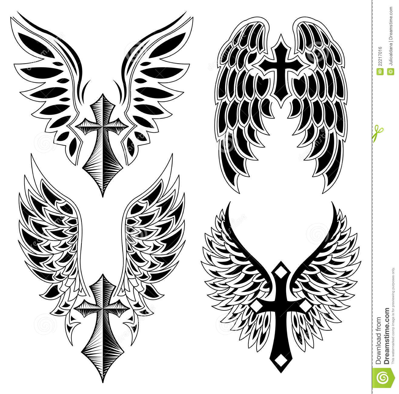 Set Of Cross And Wings Tattoo Elements vector Royalty