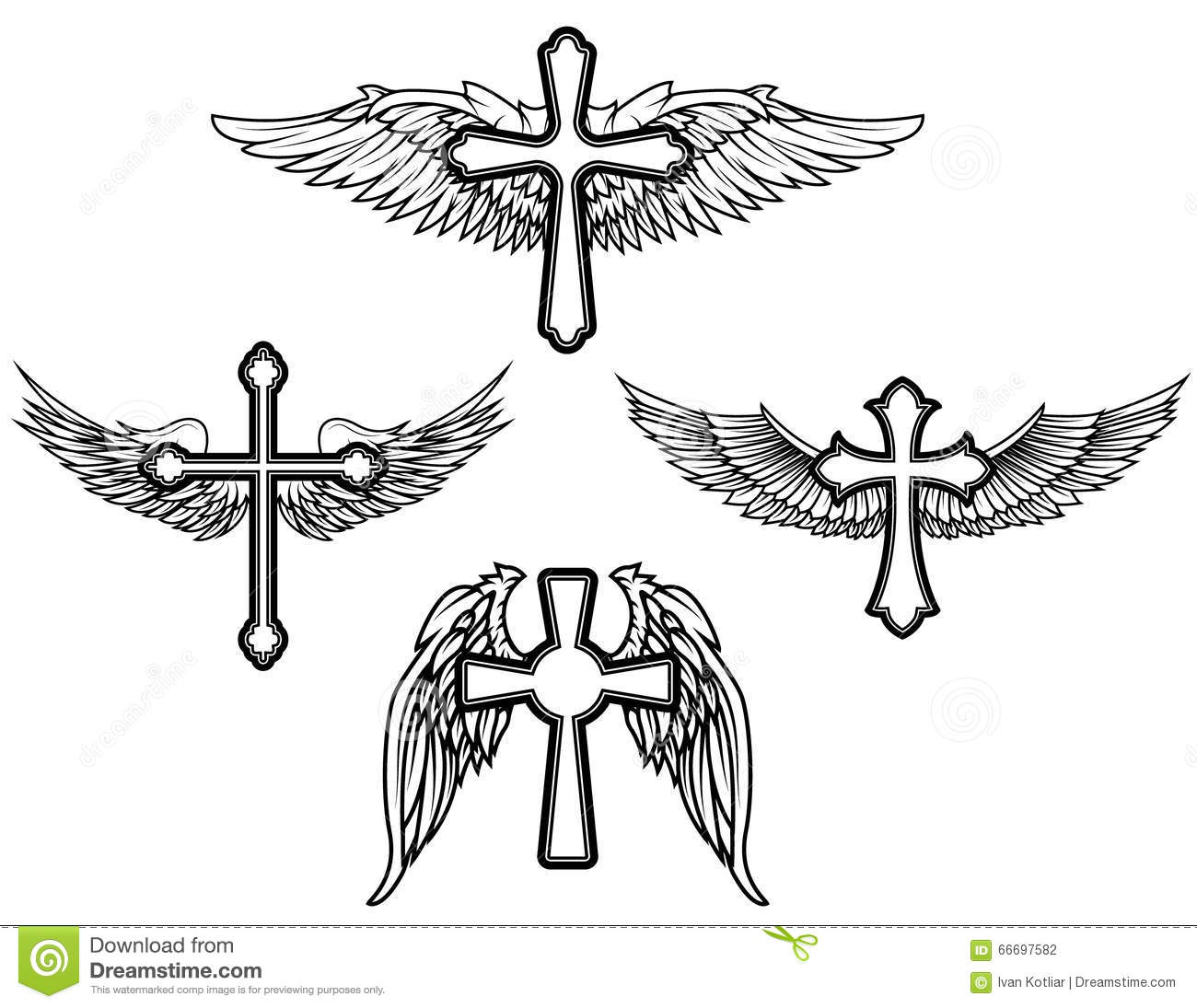 Set Of The Cross With Wings Stock Vector Illustration Of Death