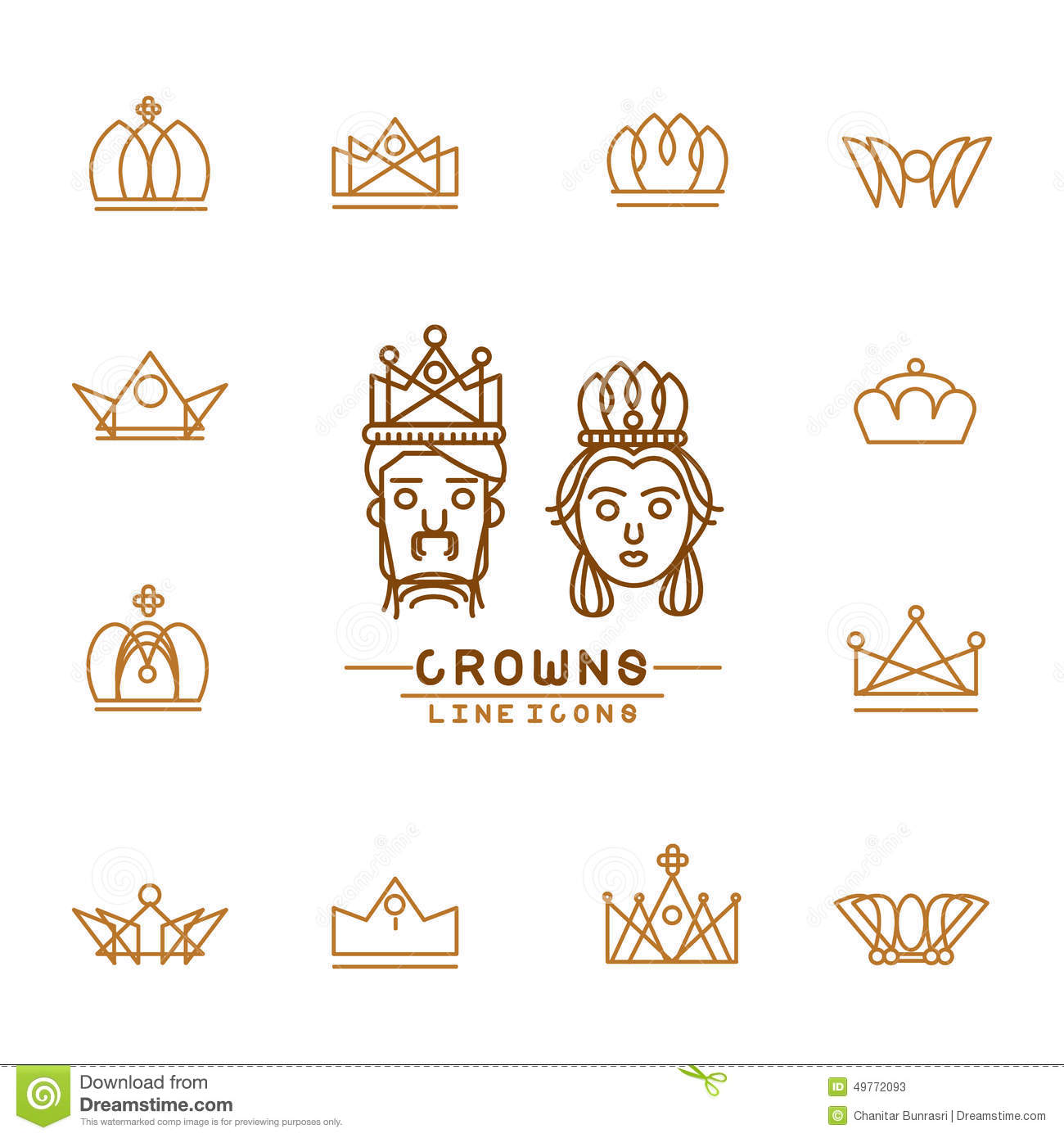Graphic Design Elements Line : Set of crown line icons stock vector illustration