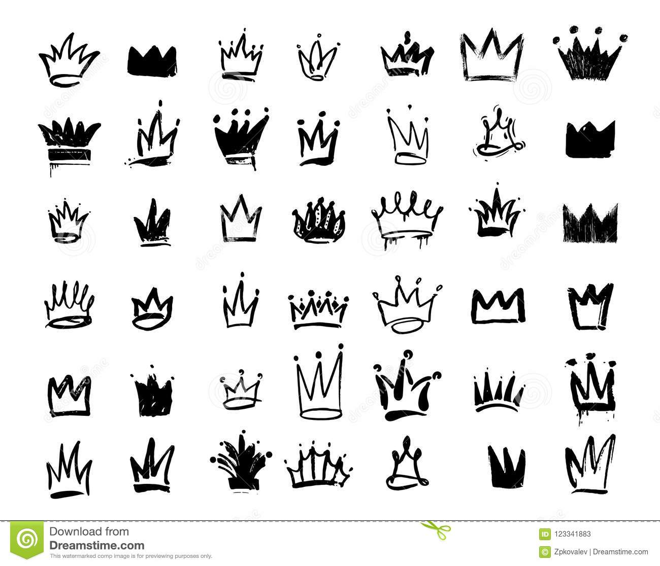 Set Of Crown Logo Graffiti Icon Drawing By Hand Black Elements Vector Illustration
