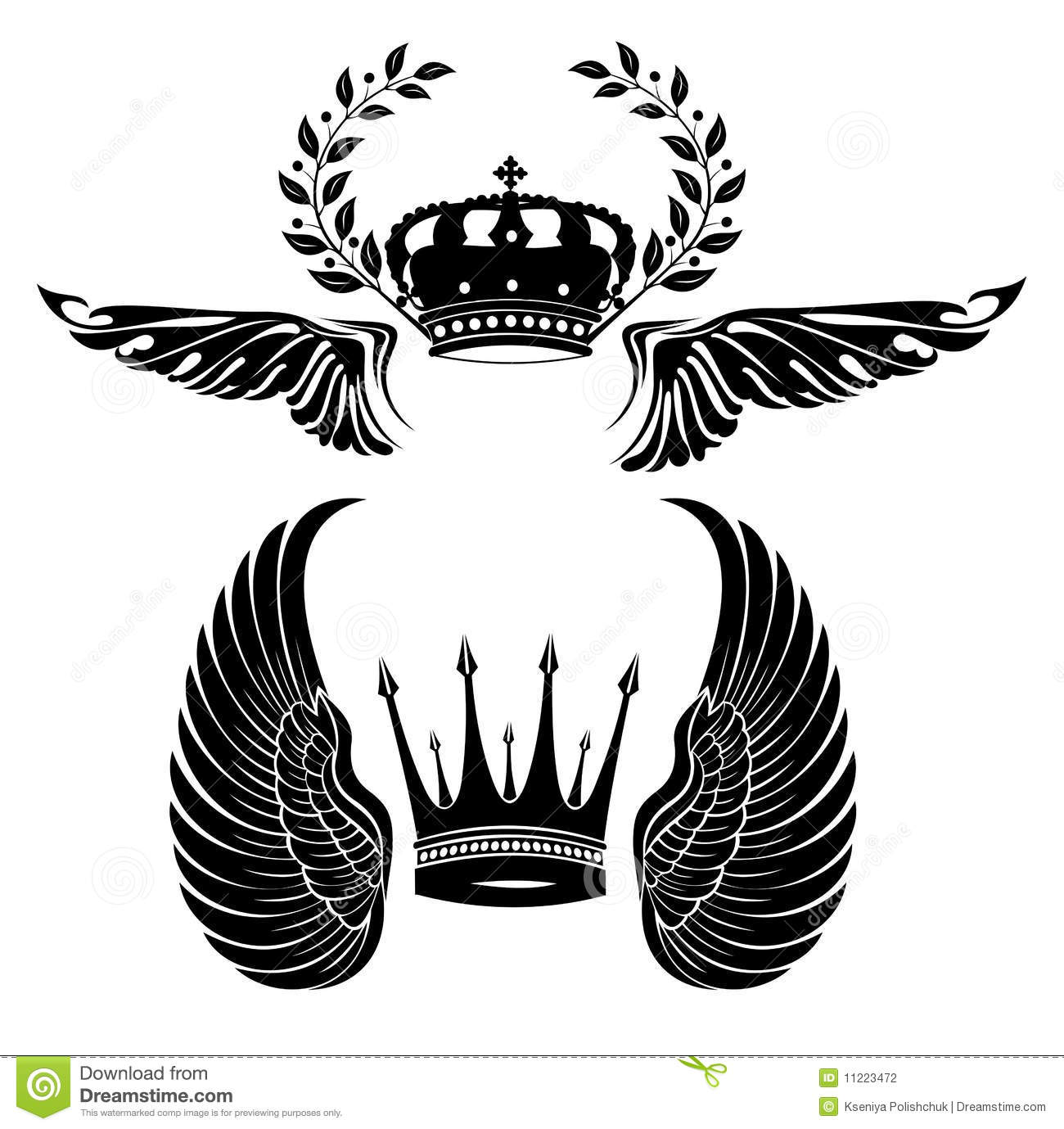 Set Of Crowns And Wings Stock Vector Illustration Of