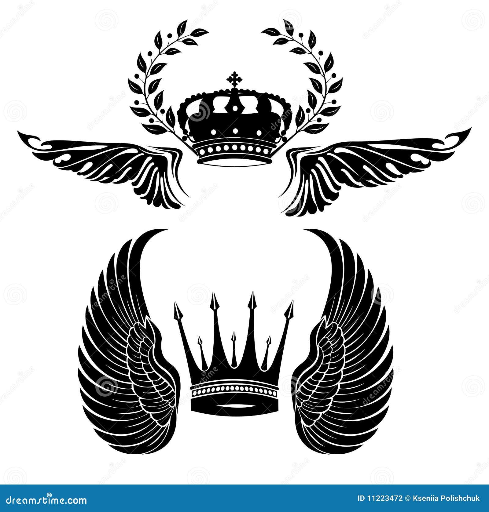 Tribal Crown With Wings Crown wings royal black branch