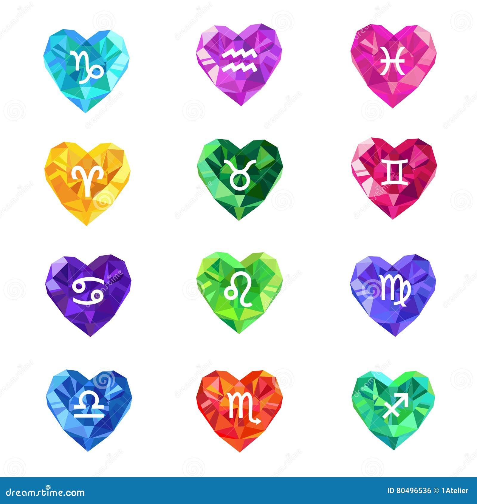 Set Of Crystal Jewel Heart Shaped Astrological Zodiac Signs Symbols