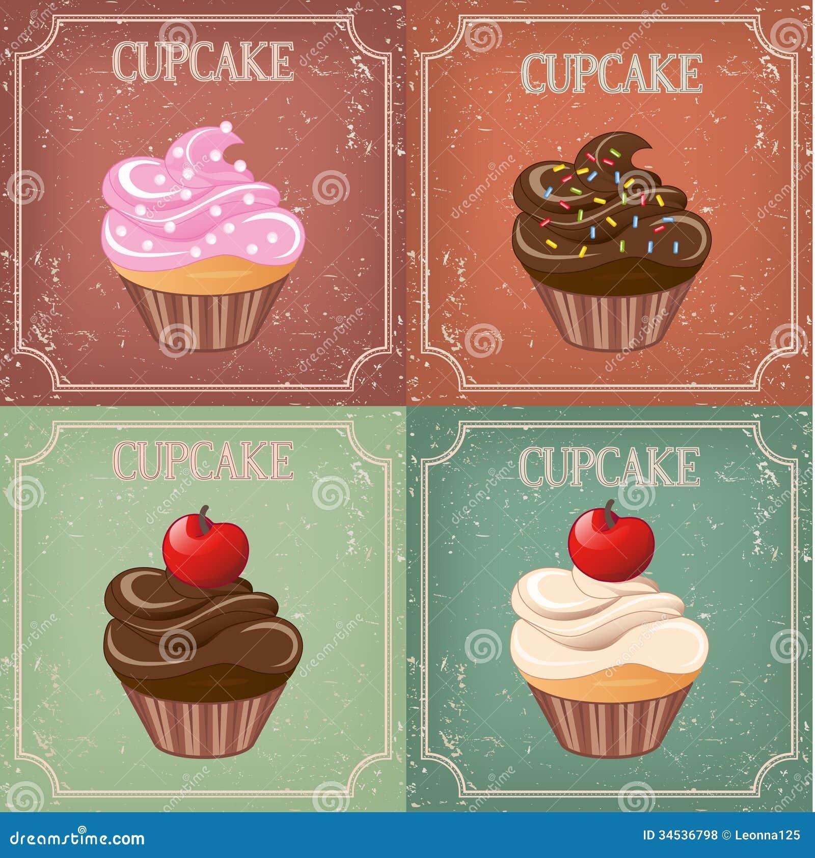 Set Of Cupcake On Vintage Background