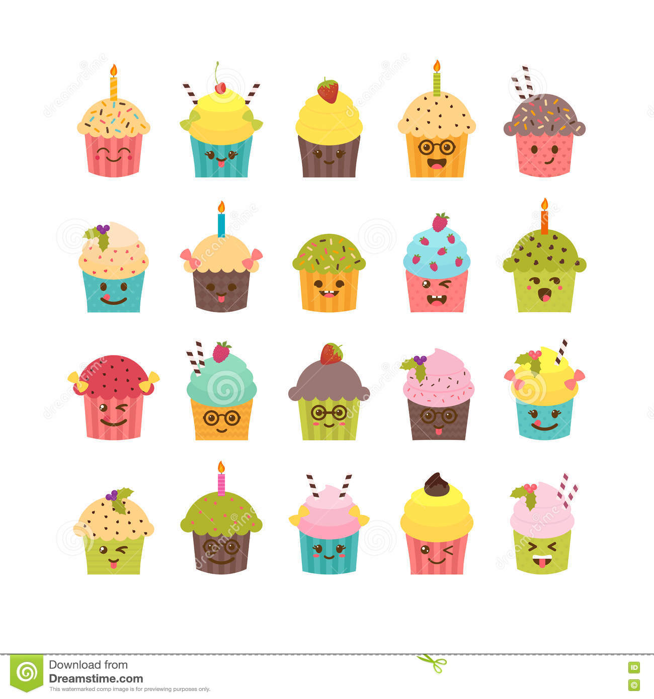 Set Of Cupcakes And Muffins Kawaii Cute Cartoon Characters Emoji Birthday Icons Desserts Vector Illustration