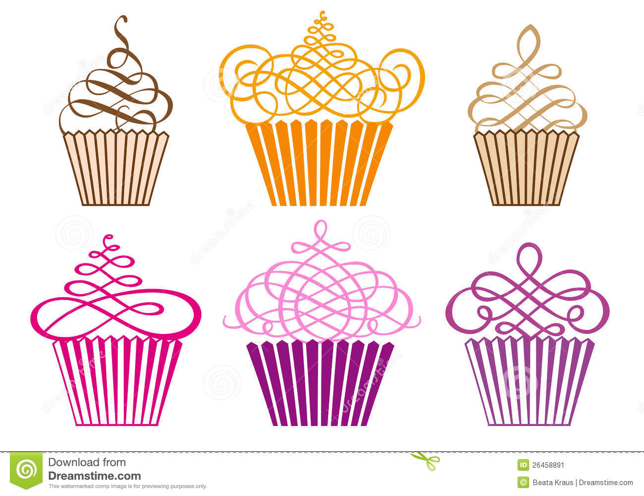 Cake Line Art Vector Free Download : Set of cupcakes, vector stock vector. Image of muffin ...