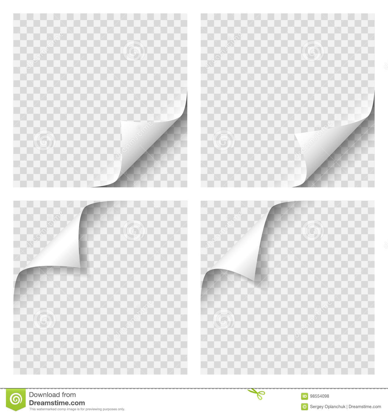 Set of Curly Page Corner. Blank sheet of paper with page curl with transparent shadow. Realistic vector illustration