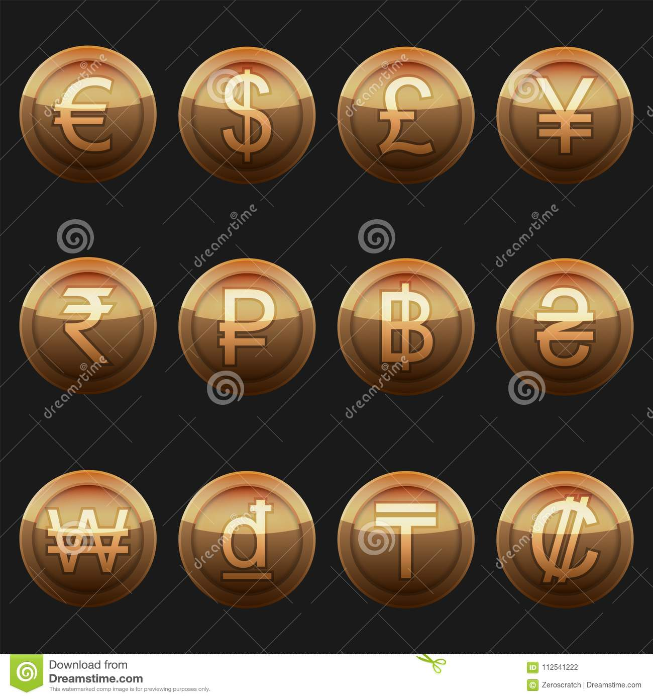 Currency Coins Symbols Icons Metallic Bronze With Highlights Set