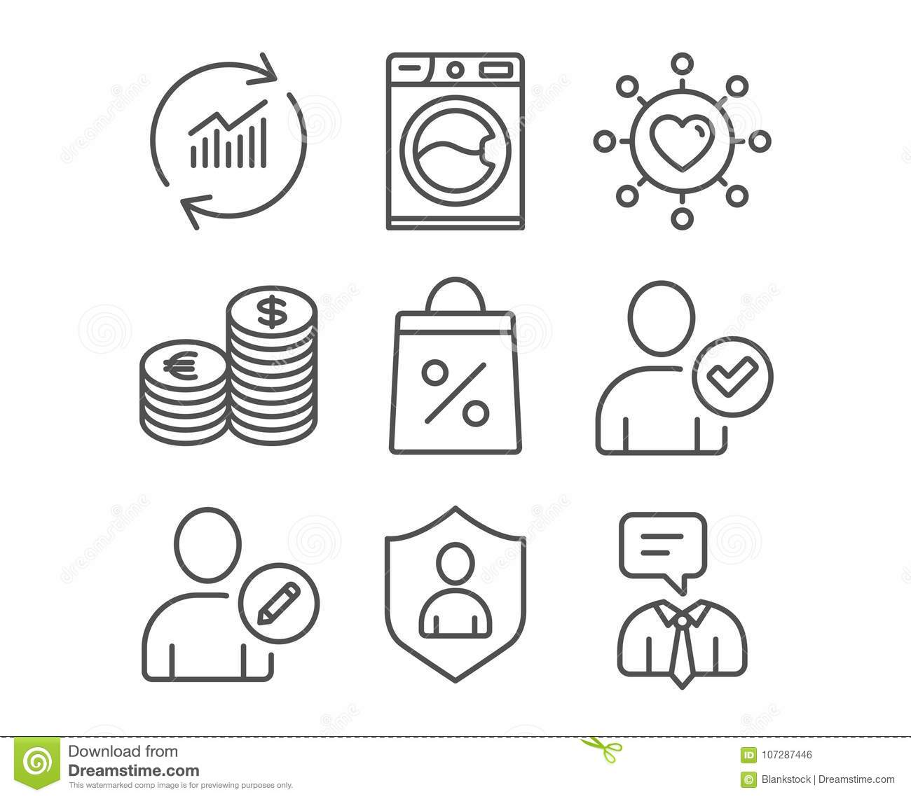 Currency, Edit user and Washing machine icons. Dating network, Security and Shopping bag signs.