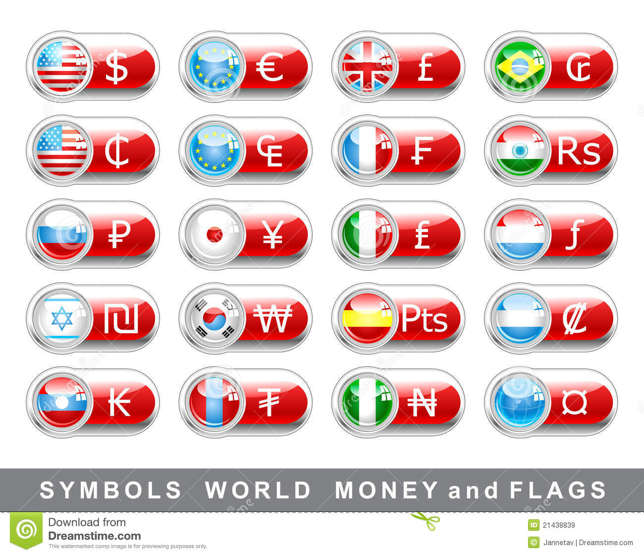 Set Currency Symbols And Flags Stock Vector Illustration Of