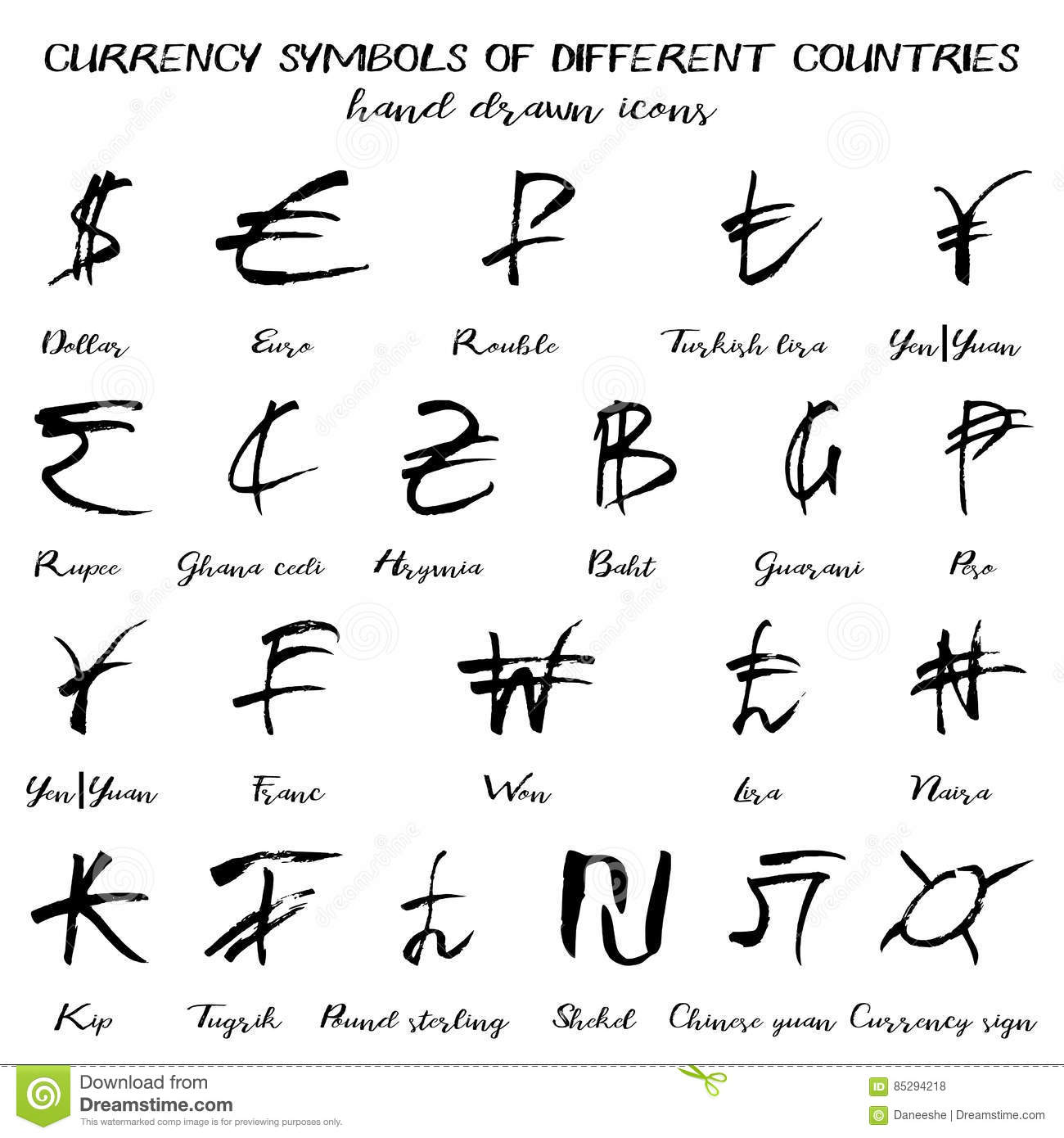 Set of currency symbols in hand drawn style stock vector set of currency symbols in hand drawn style biocorpaavc Image collections