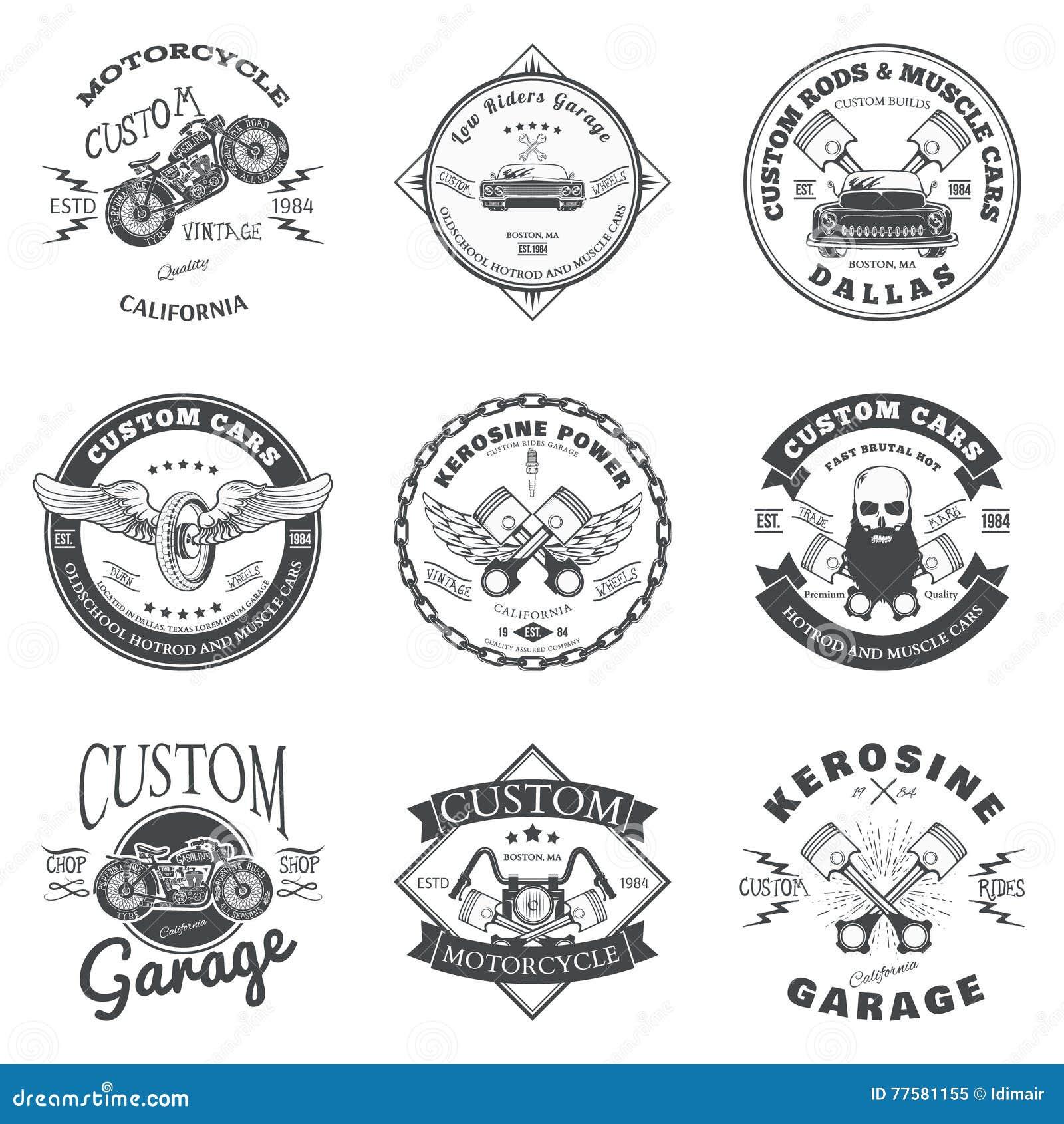 Set Of Custom Car And Bike Garage Label And Badge Design