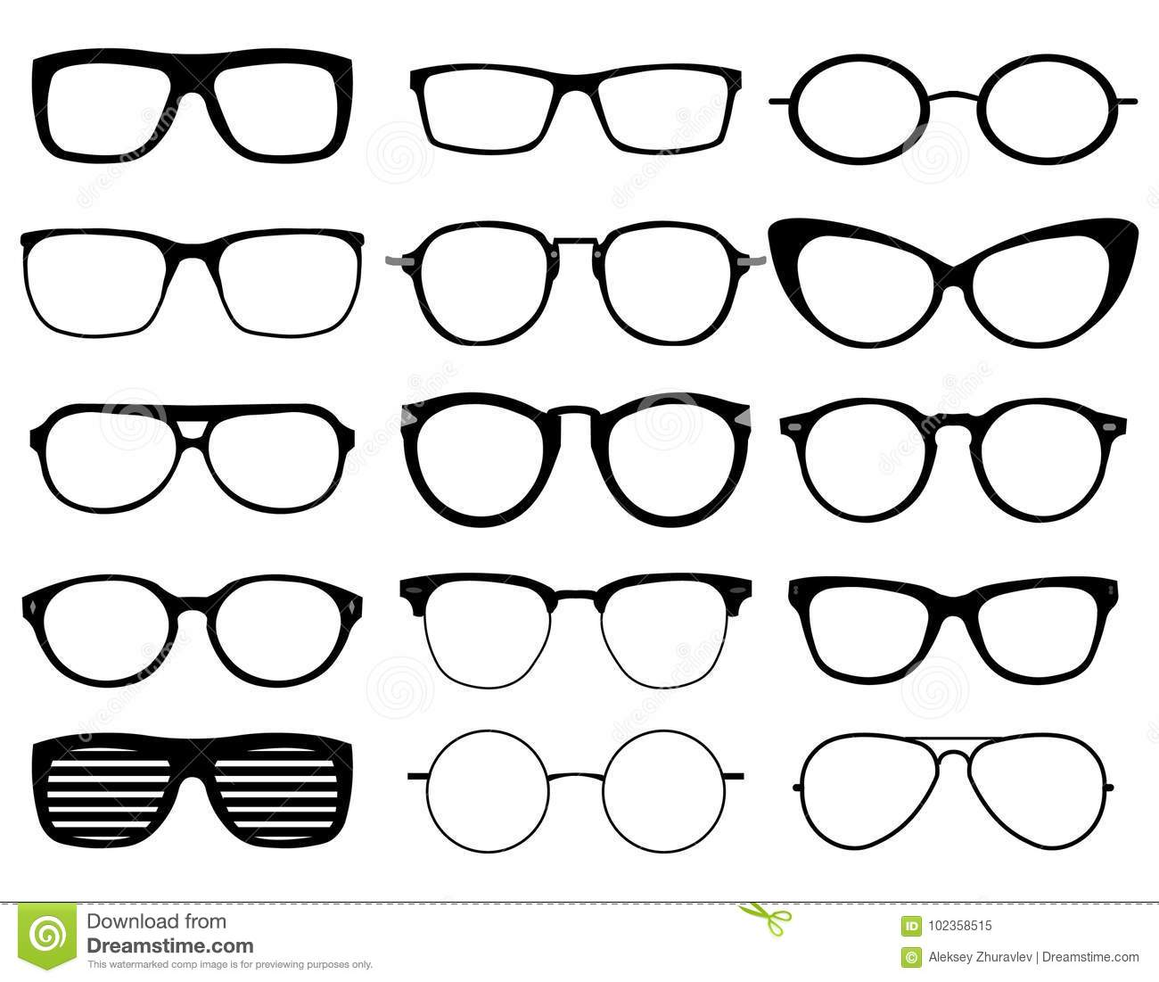 d323aa3f6ad178 Set Of Custom Glasses Isolated Stock Vector - Illustration of ...