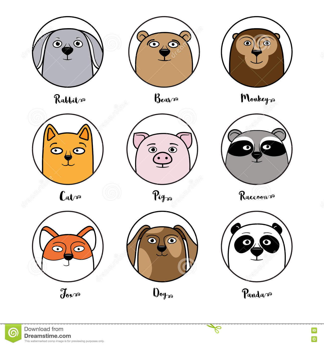 Avatar 2 Animals: Set Of Cute Animal Avatars In Circles Stock Vector