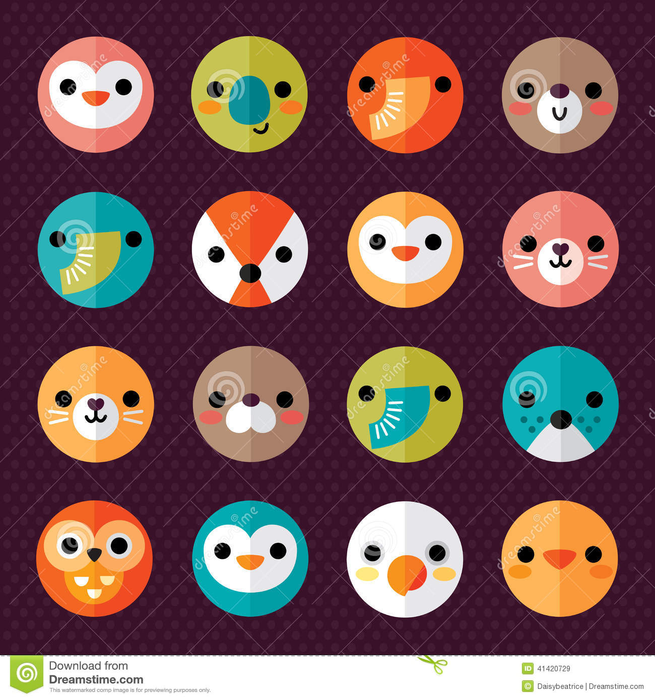 Set Of Cute Animal Smiley Face Stickers Stock Vector