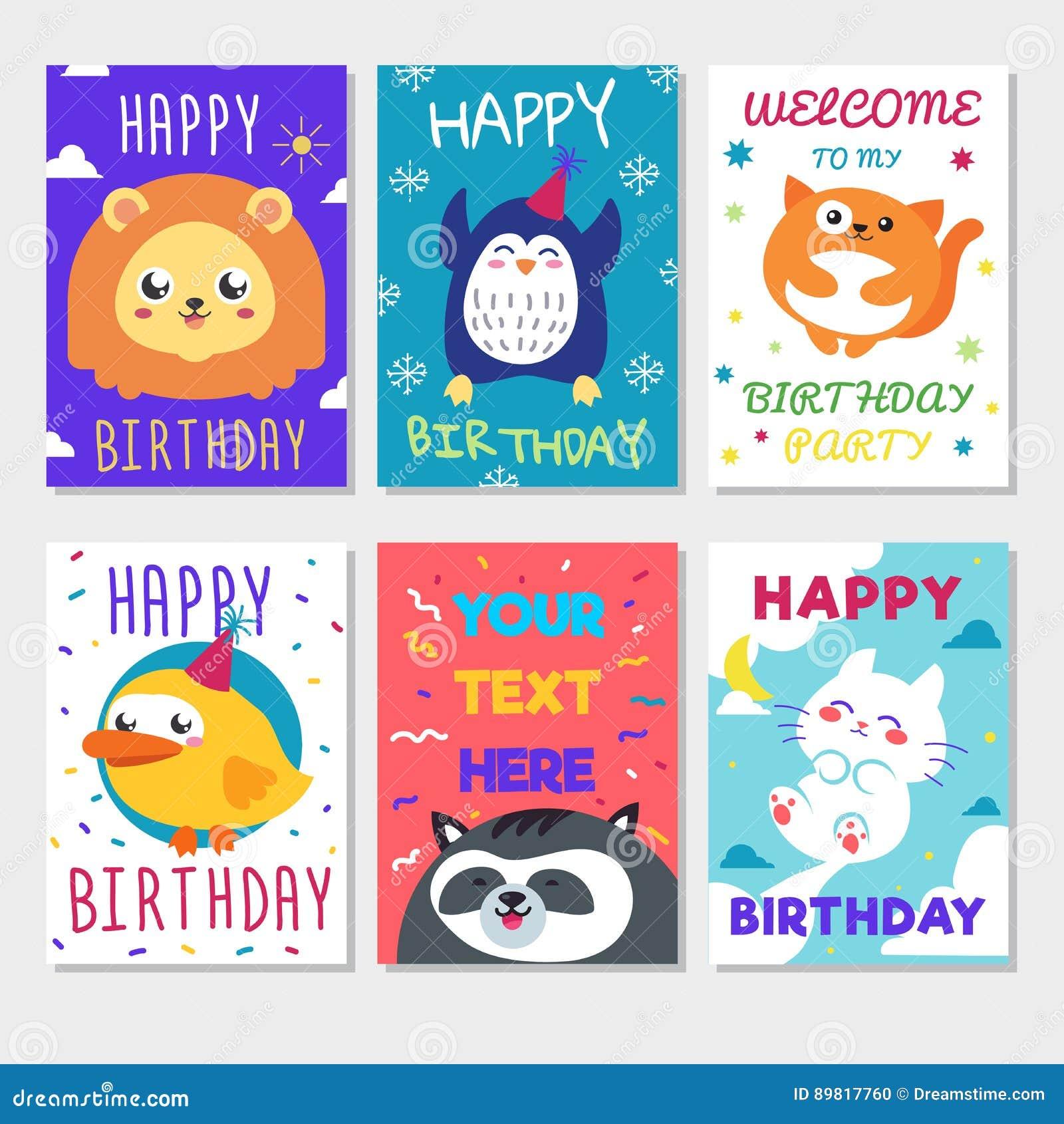 Happy Birthday Holiday Card With Cute Animals Cartoon Vector