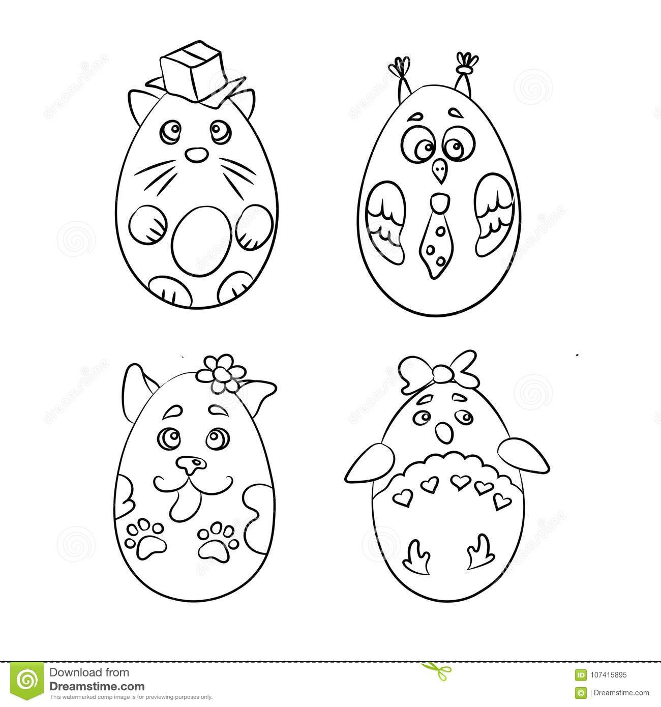 Set With 4 Cute Animals In A Shape Of Easter Eggs For