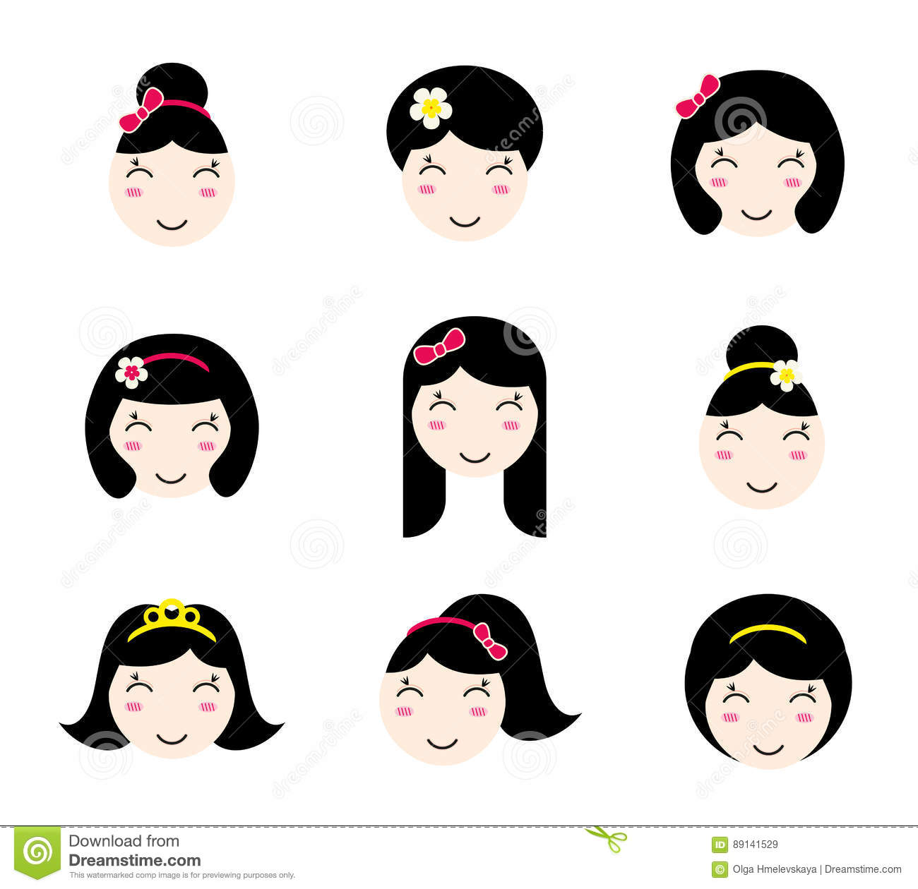 Set of cute girl characters with different hairstyles. Anime style. Kawaii asian  girls with long and short hair. Flat avatar and web site icons for beauty  ...
