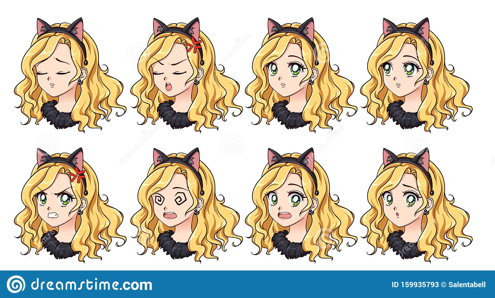 A Set Of Cute Anime Girl Wearing Cat Costume With Different