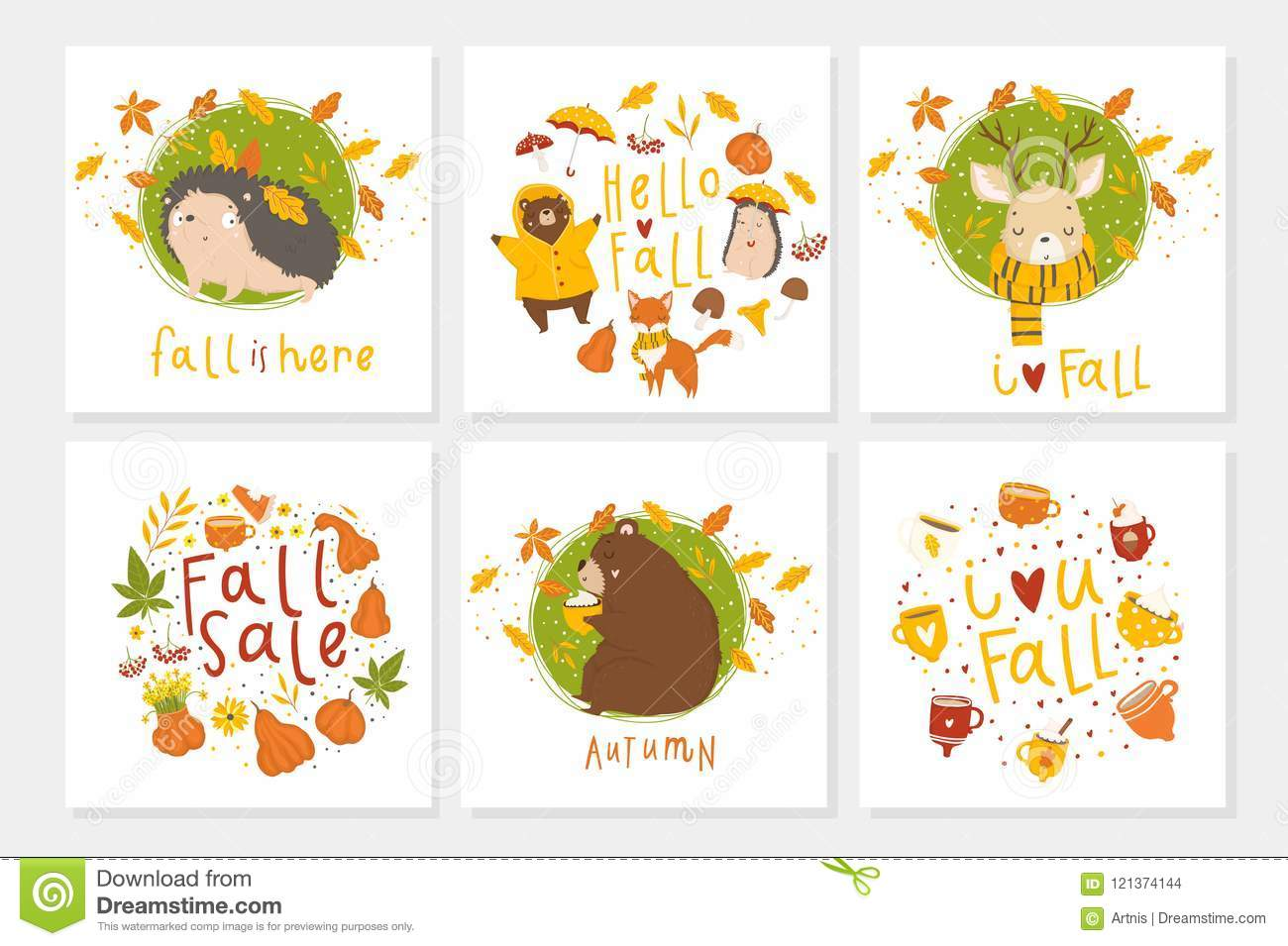 Set Of 6 Cute Autumn Postcards With Animals Stock Vector Illustration Of Deer Cartoon 121374144