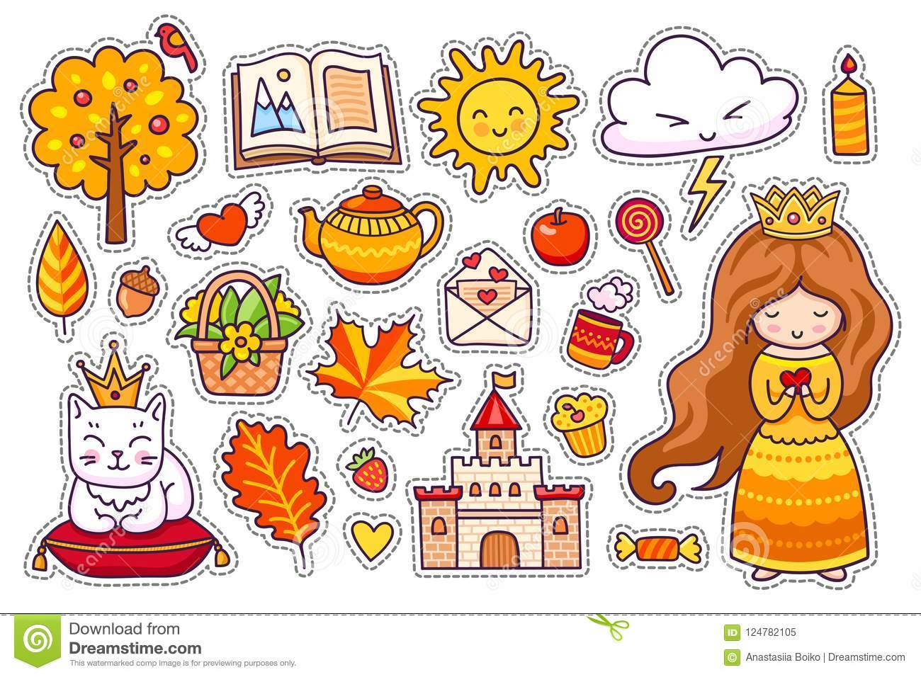 set of cute autumn stickers stock vector illustration of candle