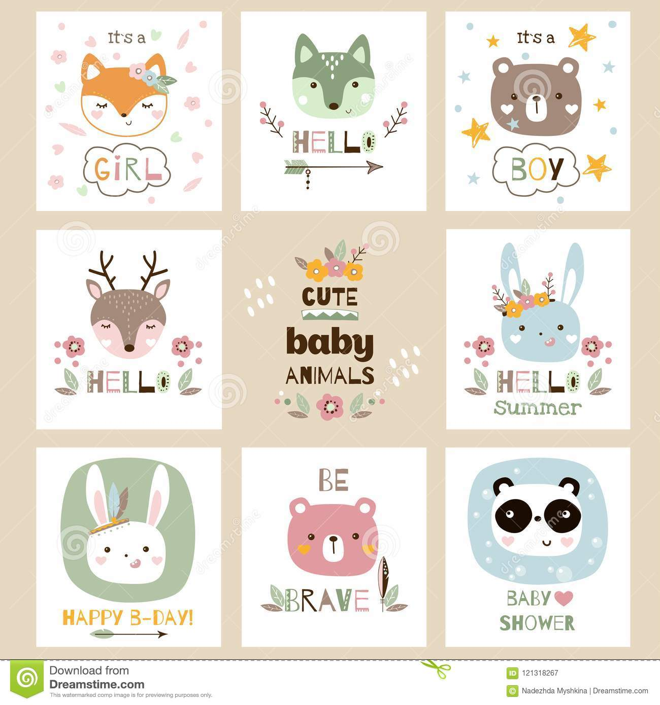 Set Of Cute Baby Animal Cards Vector Illustration Stock