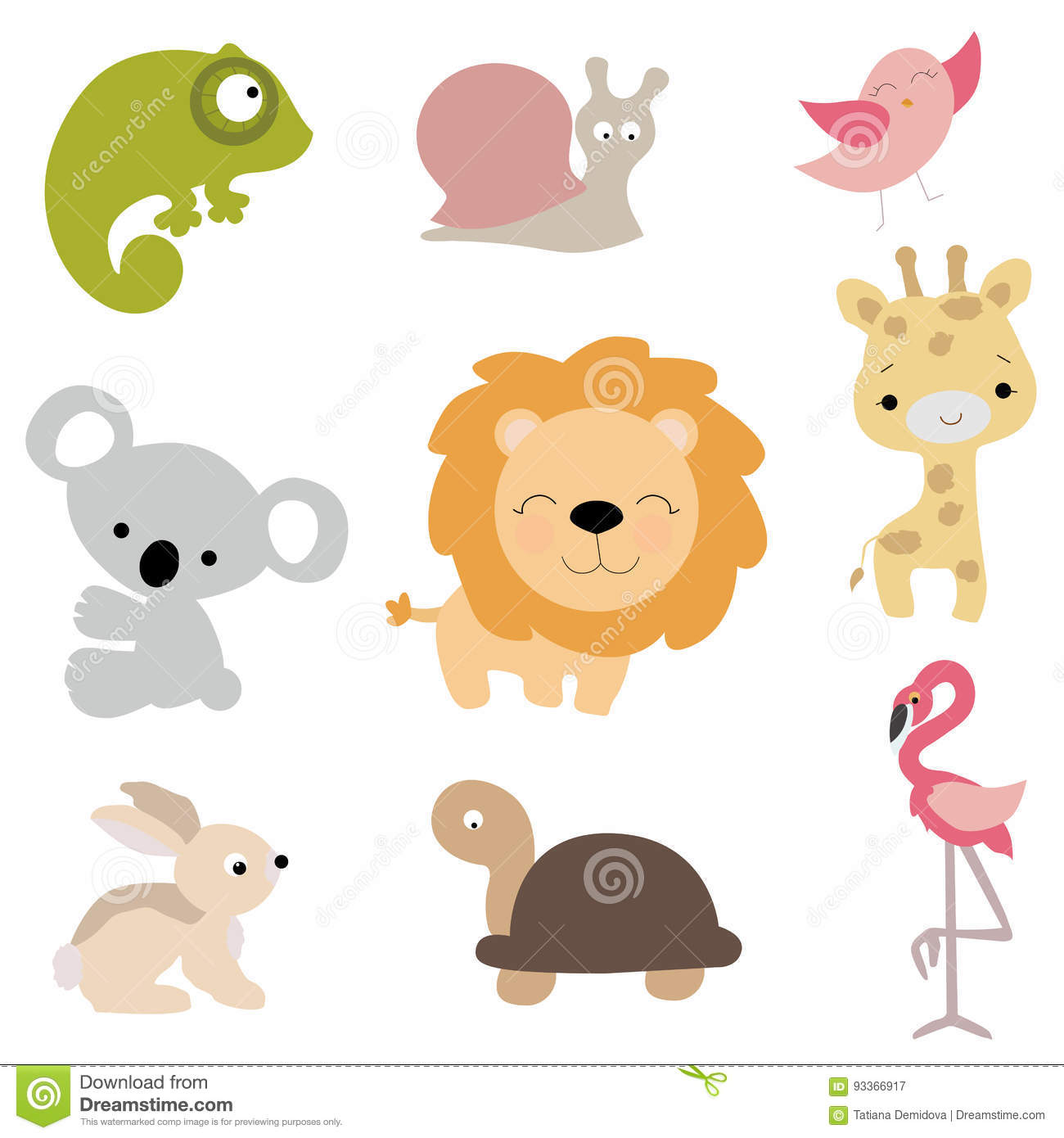 Set Of Cute Baby Animals In Cartoon Style On White ...