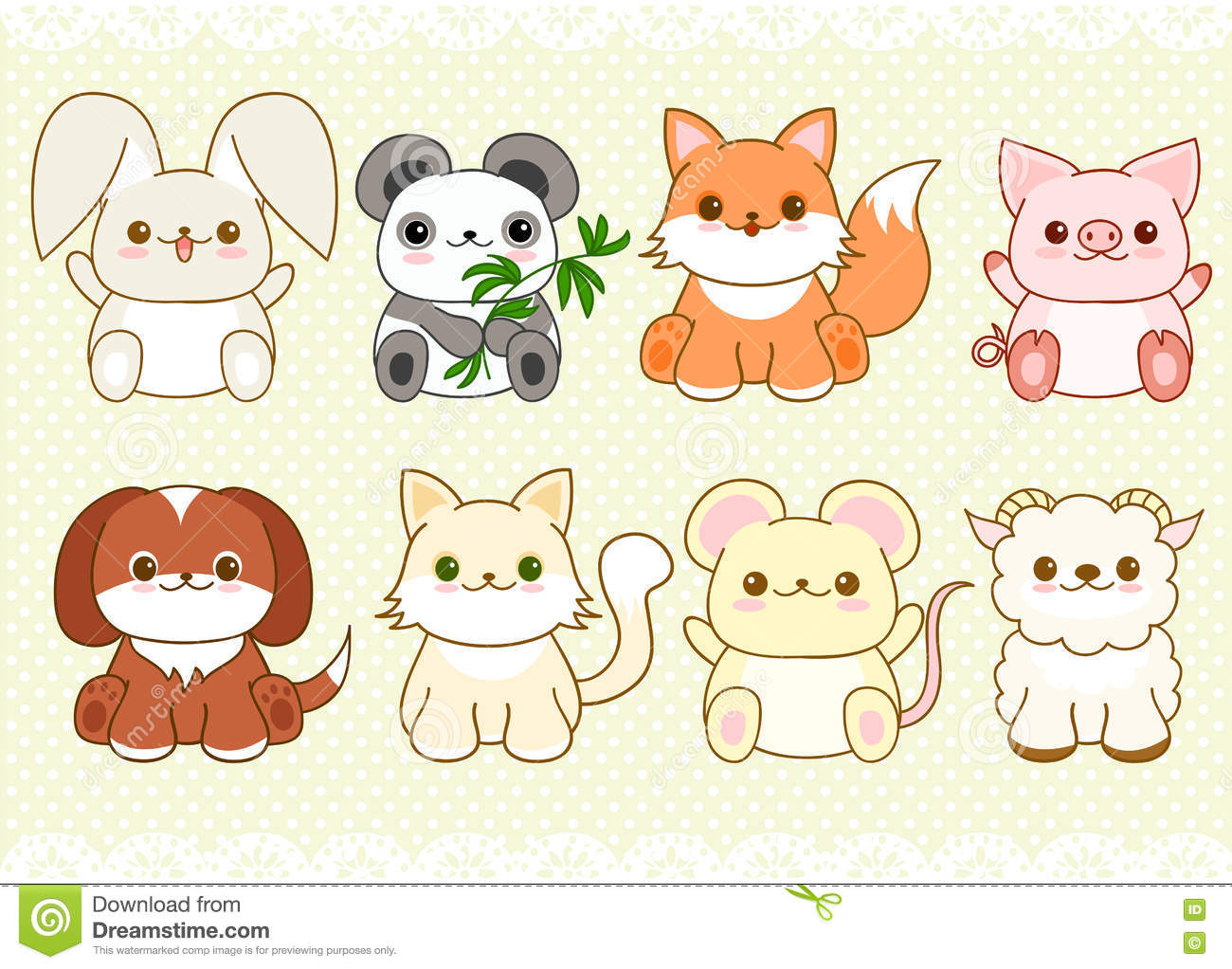 set of cute baby animals in kawaii style stock vector