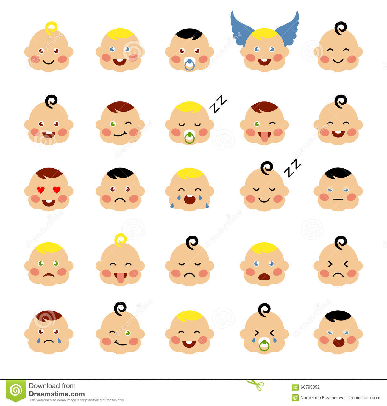 Set of cute baby emoticons stock vector illustration of cute set of cute baby emoticons buycottarizona Images