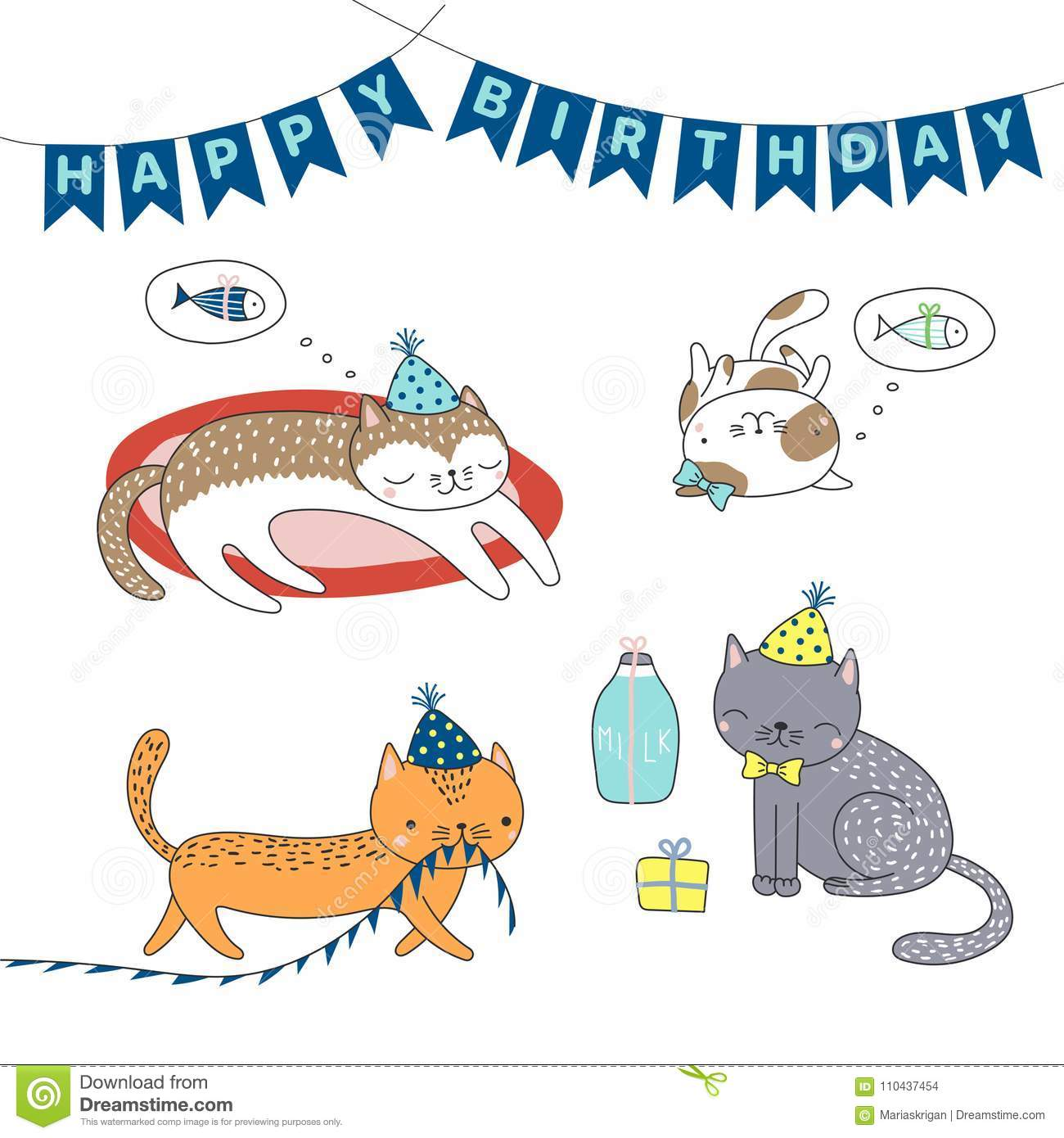 Cartoon Cats In Party Hats With Presents Typography Isolated Objects On White Background Vector Illustration Design Concept For Children Birthday
