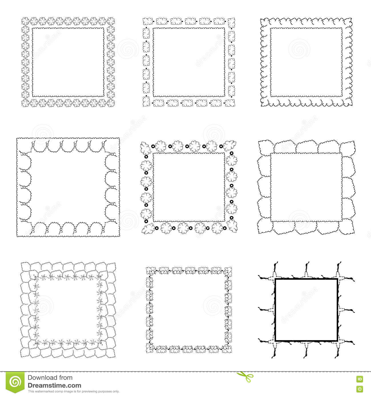 cartoon black and white frames set cute black line picture frames isolated white free hand