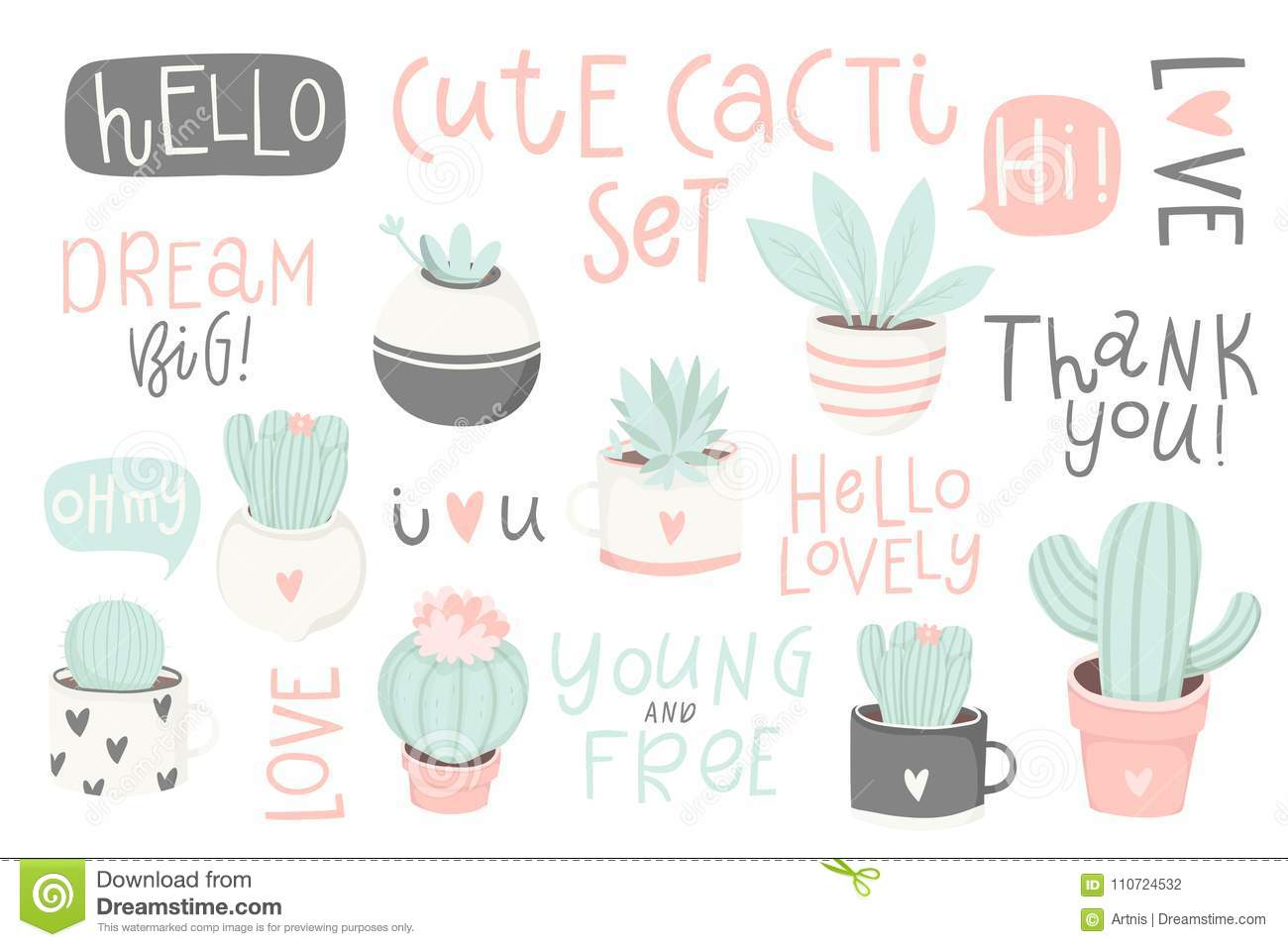 set with cute cacti and lettering cute summer theme cactus