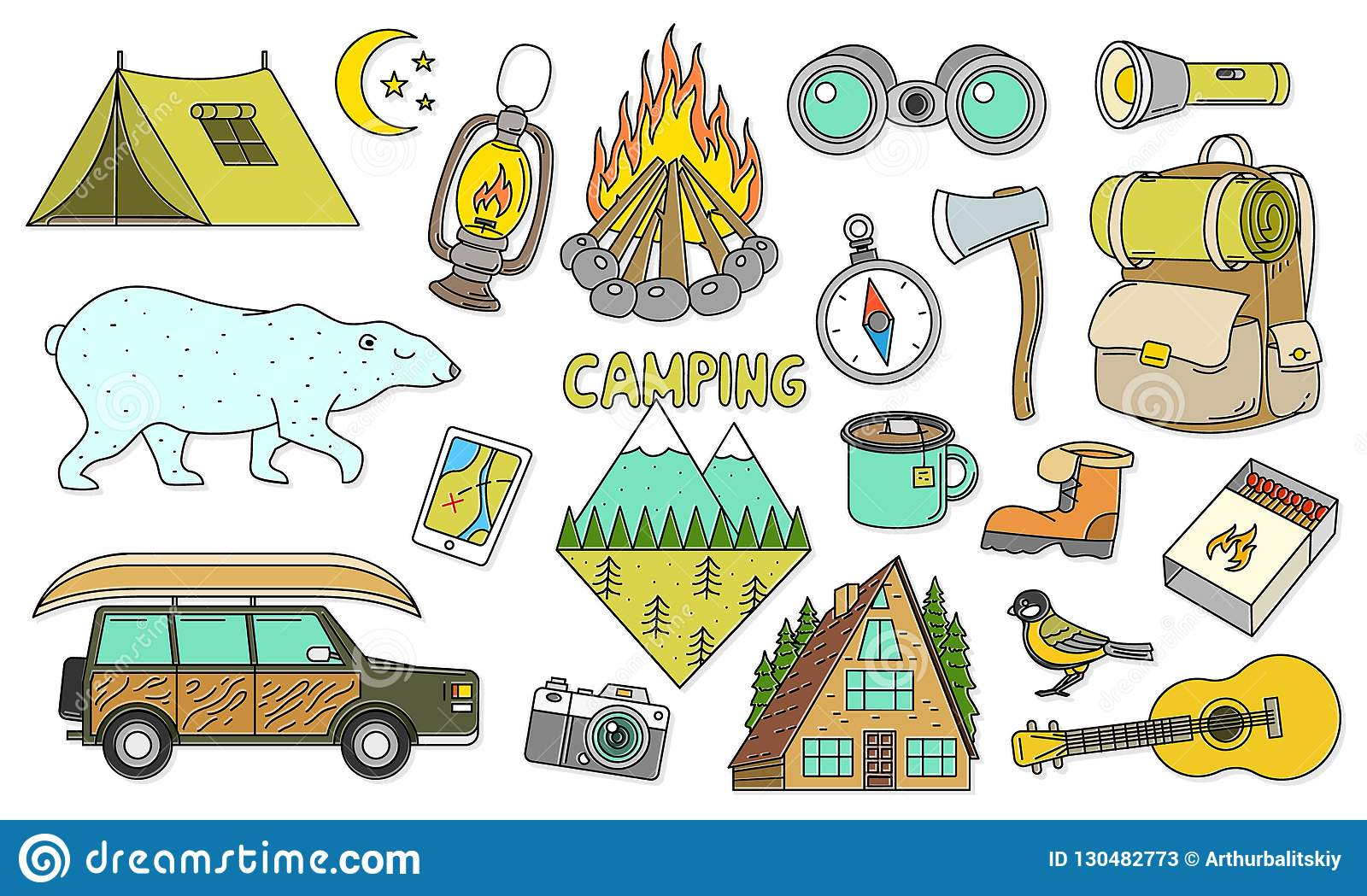 Set Of Cute Camping Elements Equipment In Forest Stickers Doodle