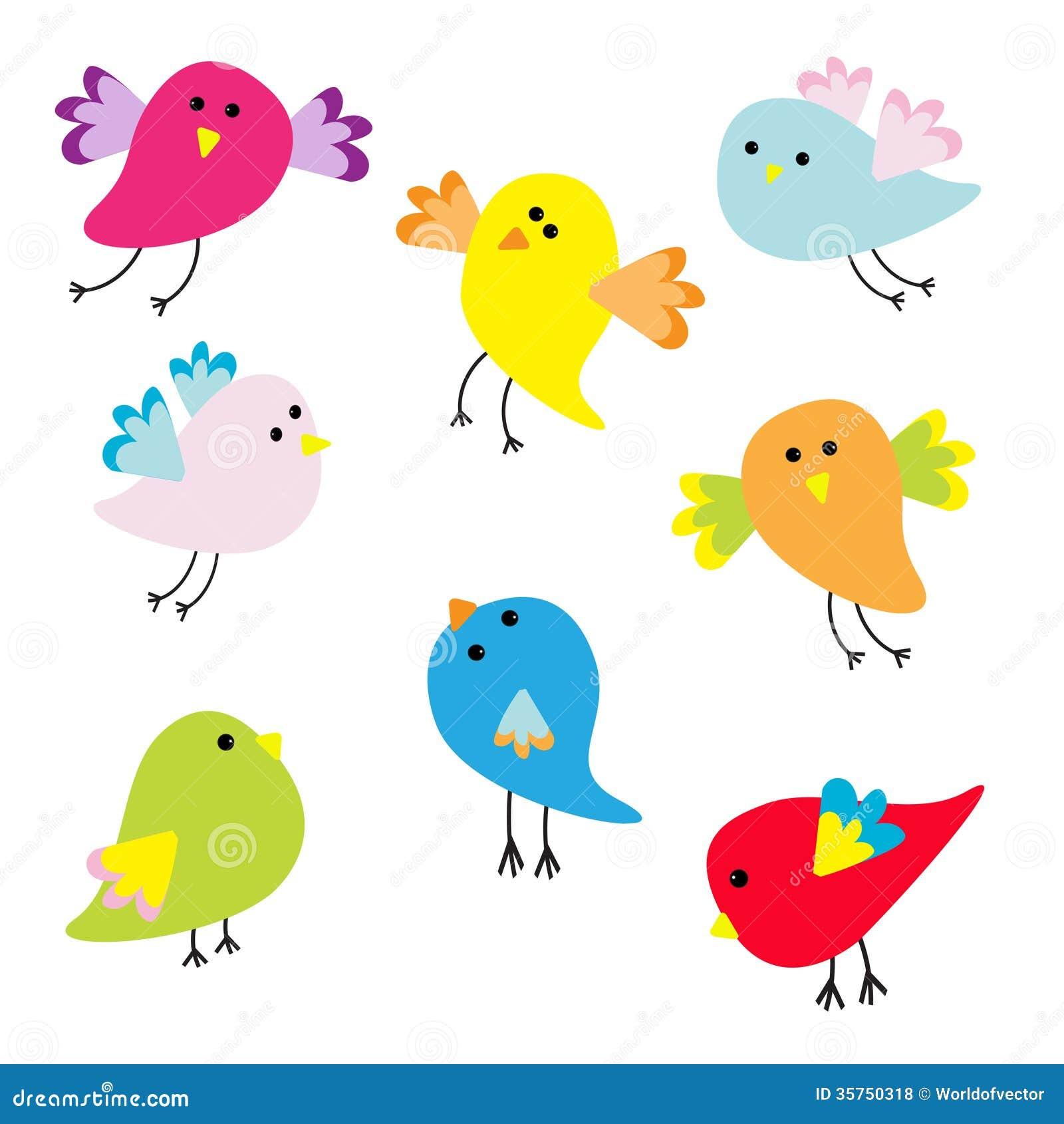Set Of Cute Cartoon Birds Illustration 35750318 Megapixl